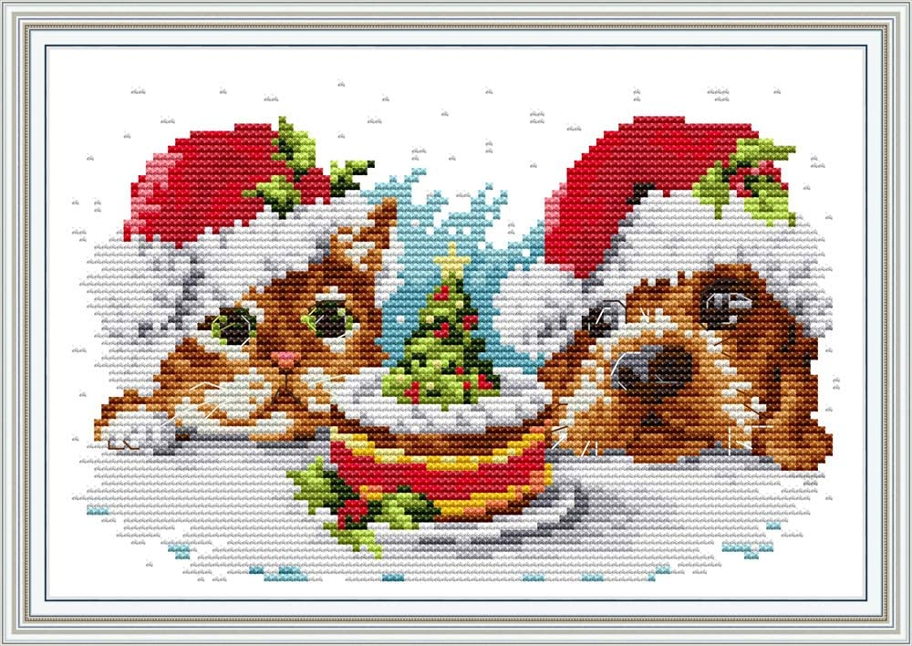 Christmas Post Office Deer 11CT 62/×65cm DIY Embroidery Needlework Kit with Easy Funny Preprinted Patterns Needlepoint Christmas YEESAM ART Cross Stitch Kits Stamped for Adults Beginner Kids