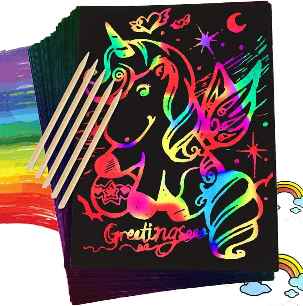 Pack of 55 Scratch off Art Craft Supplies Kits with 5 Wooden Stylus Black Scratch Notes Sheet Fun DIY Toy Party Favors Game Christmas Birthday Gift Magic Scratch Rainbow Art Paper Set for Kids