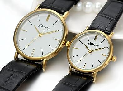JewelryWe 2pcs relojes parejas, relojes elegante de cuero negro para hombre mujer, relojes casuales de enamorados, buen regalo de san valentín: Amazon.es: ...