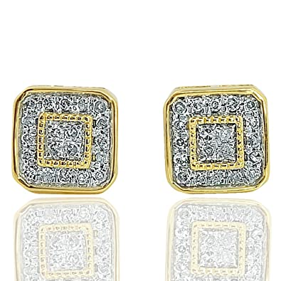 5a9ee7a6d Image Unavailable. Image not available for. Color: 10K Yellow Gold 0.13 Cttw  Diamond Stud Earrings ...