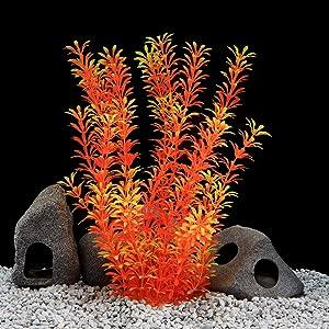 QUMY Large Aquarium Plants Plastic Fish Plant for Tank Artificial Decoration for All Fish Medium 14.17 inch Tall 4.13 inch Wide (Orange)