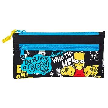Los Simpsons- Estuche portatodo Dos Cremalleras, Color Negro ...