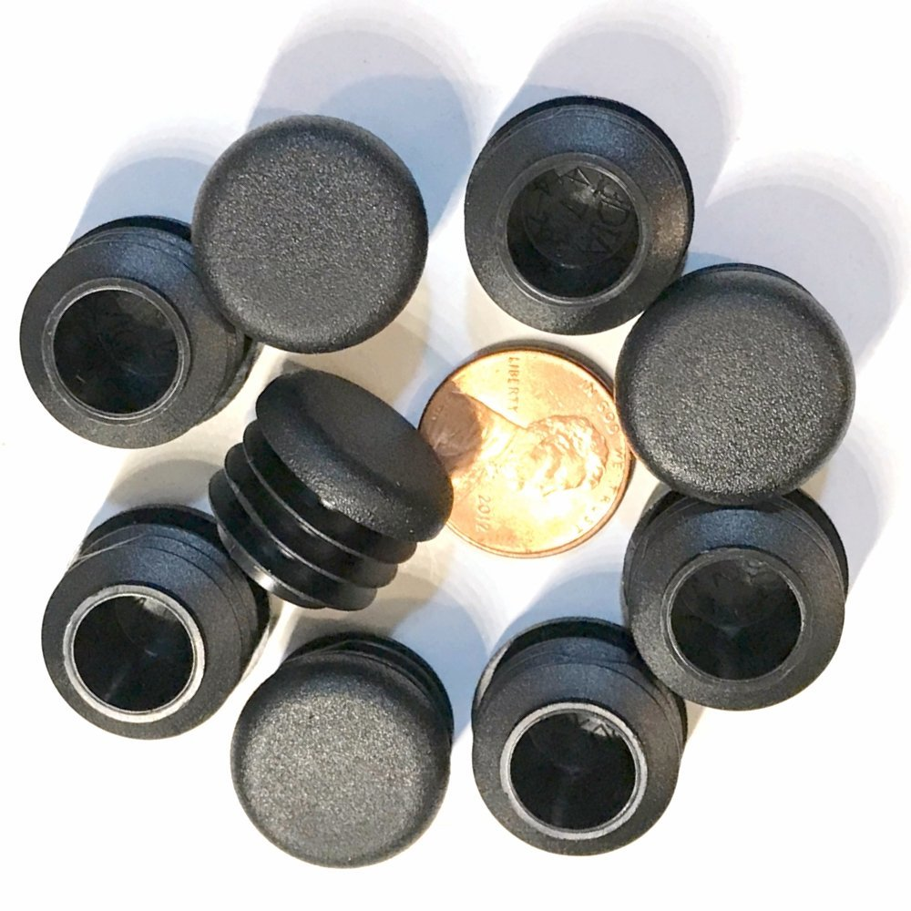 (Pack of 200) 3/4'' OD Round End Caps (14-20 Ga - 0.59'' - 0.69'' (ID) Inside Diameter for Tube Covers || 0.75 Inch Sliding Inserts | Furniture Chair/Table Leg Caps | Fitness Eqpt End Caps | by SBD