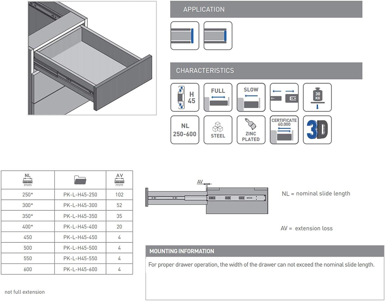 Push-to-Open 45 x 300 mm Soft-Close Schienensystem Belastbar bis 30 Kg 1 Set= 2 St/ück GTV Versalite Touch PRO Schubladenschienen Schubladenausz/üge Teleskopschiene Kugelf/ührung