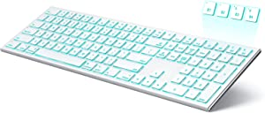 seenda Backlit Bluetooth Keyboard for Mac OS/iOS/iPad OS, Multi-Device Ultra Slim Rechargeable Wireless Illuminated Keyboard Compatible with MacBook Pro/Air, iMac, Mac Mini, iPhone - Silver and White