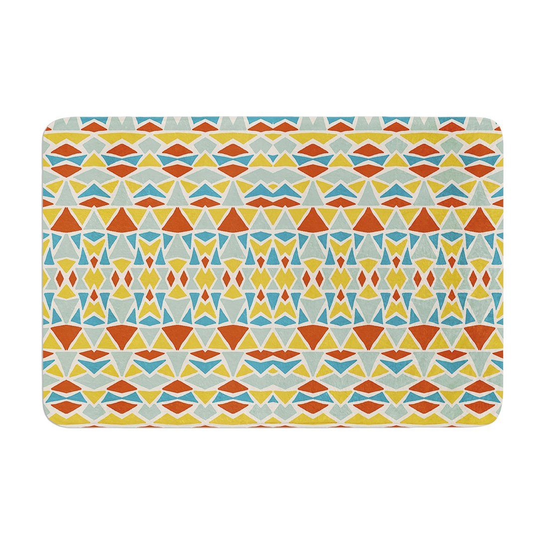 17 by 24 Kess InHouse Pom Graphic Design Tribal Imagination Red Yellow Memory Foam Bath Mat