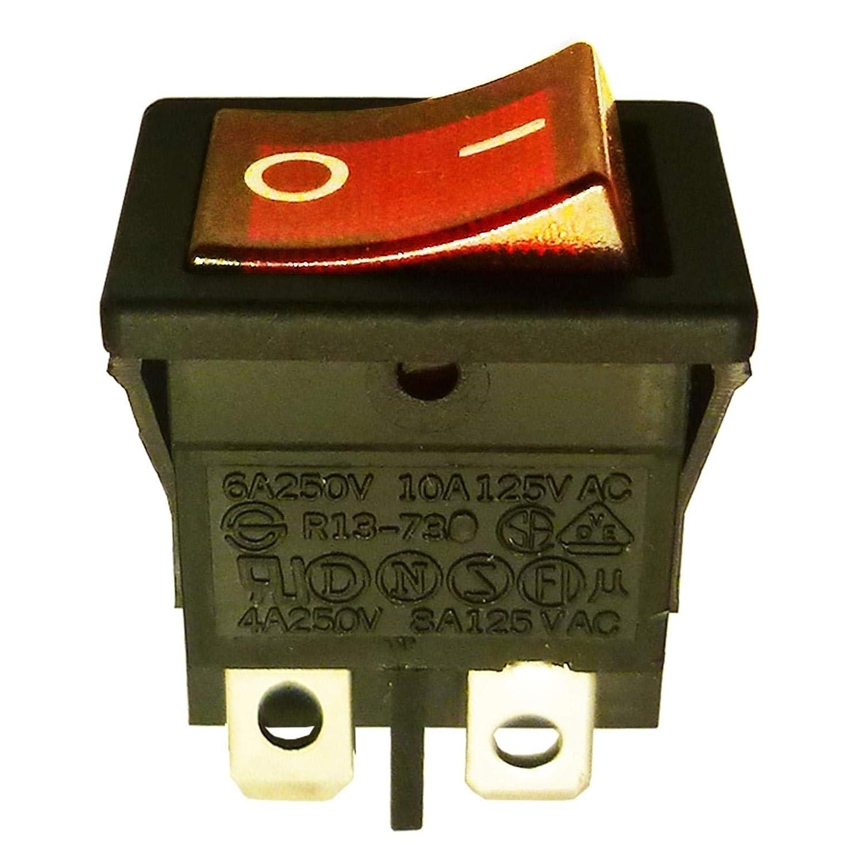 Rot Beleuchtet DPST Latching Rocker Switch On-Off-Snap in 13 x 19 mm 4pol EVL