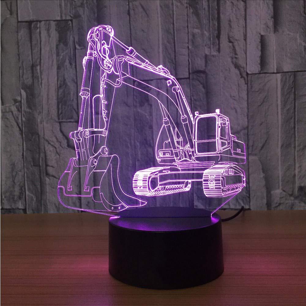Dwthh 7 Farbwechsel Led Usb 3D Bagger Maschinerie Form Nachtlicht Leuchte Baby Schlaf Home Decoration Schreibtisch Leuchtende Leuchtende