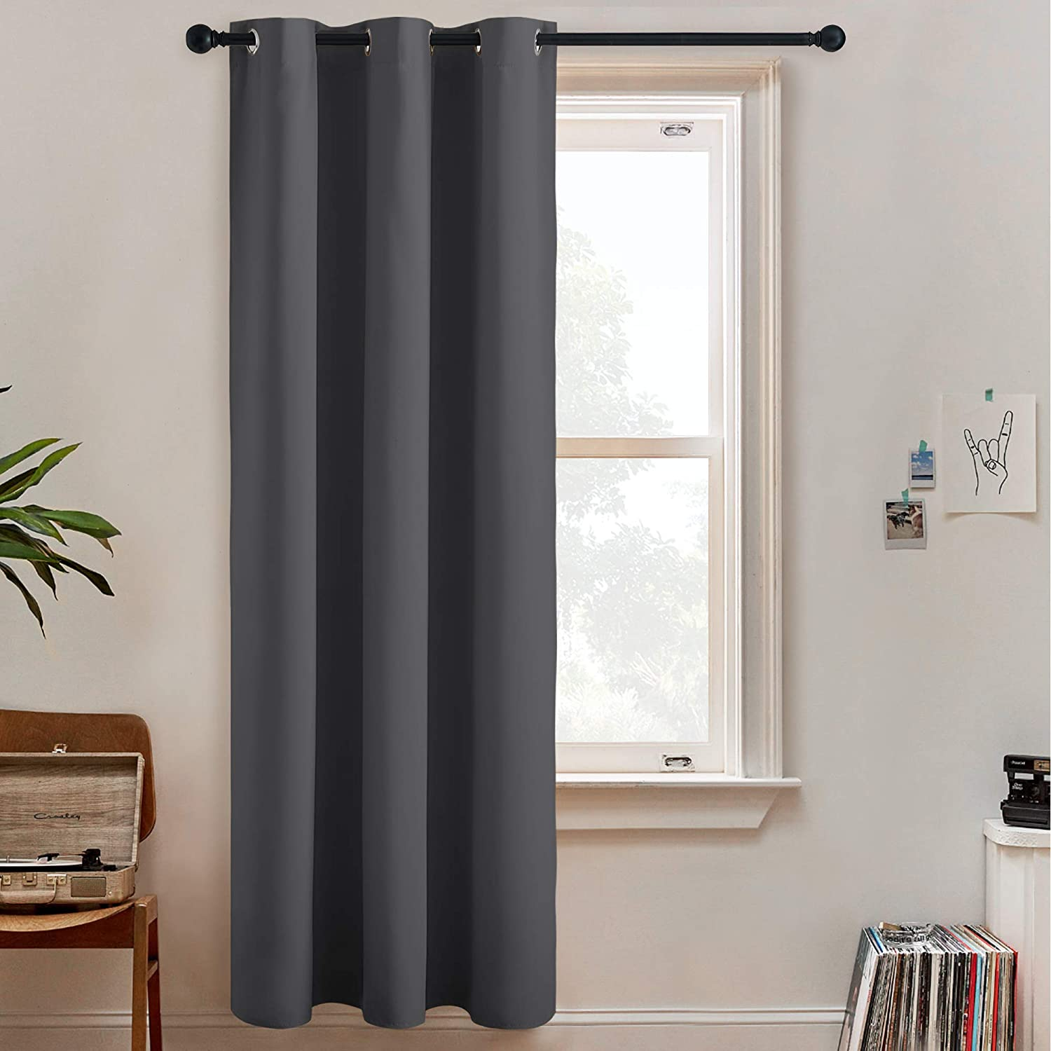 RYB HOME Room Dividers Curtain - Grommet Blackout Wall Divider Drapes Thermal Insulated 100% Privacy Drapes for Bedroom Living Room Doorway, 1 Panel, Grey, 60 inch Wide x 84 inch Long