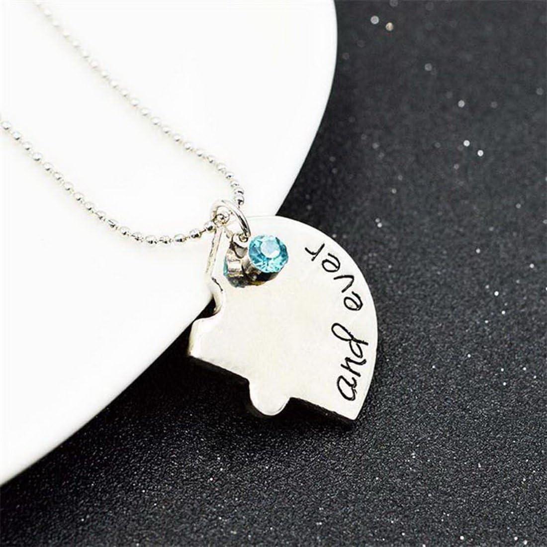 MJARTORIA Damen M/ädchen Halskette Silber Farbe BFF Kette CZ Kristall Gravur Best Friends Forever Herz Puzzle Anh/änger Freundschaftsketten f/ür 4 f/ür 2