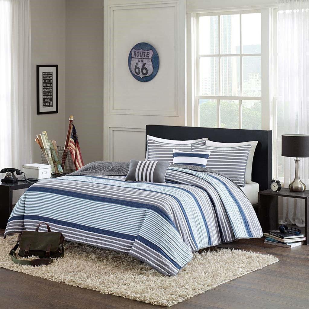 Blue, White & Gray Nautical Stripe Boys Full / Queen Quilt, Shams & Toss Pillows (5 Piece Bedding) + HOMEMADE WAX MELT