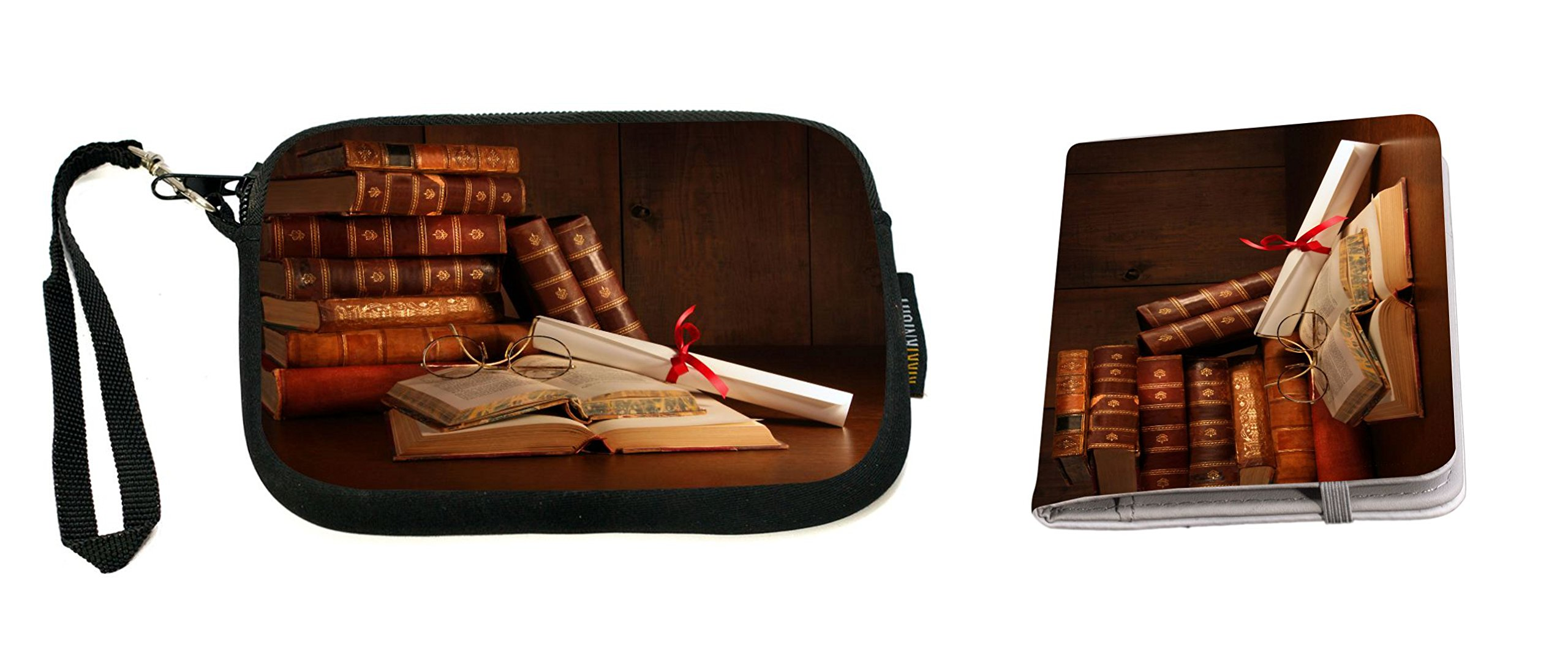 Rikki Knight Pile Of Old Books With Glasses On Desk Design Neoprene Clutch Wristlet with Matching Passport Holder by Rikki Knight