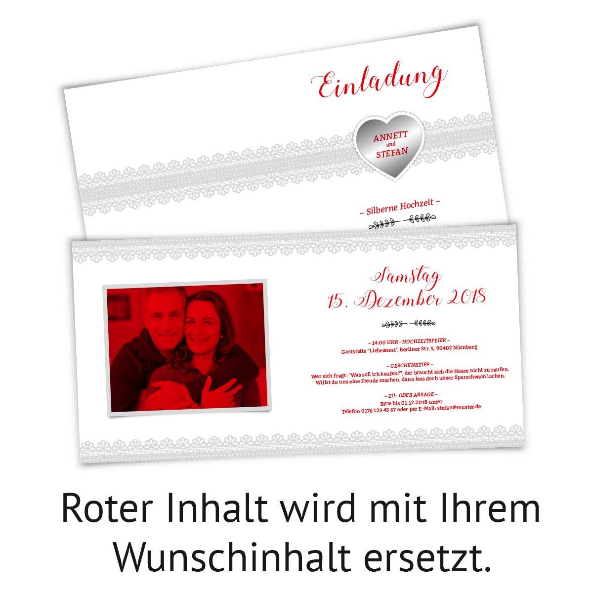 Hochzeitseinladungen Silberhochzeit silberne Hochzeit Einladungskarte Silberherz