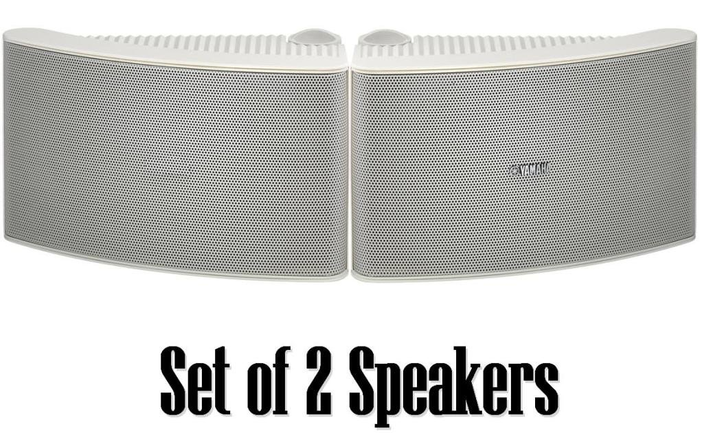 Yamaha All Weather Outdoor / Indoor Wall Mountable Natural Sound 180 watt 2 way Acoustic Suspension Speakers - Set of 2 - White - Compatible with All Audio / Video Home Theater Sound Systems, Components, CD Players, or Receivers - Also Designed for Book S by YAMAHA