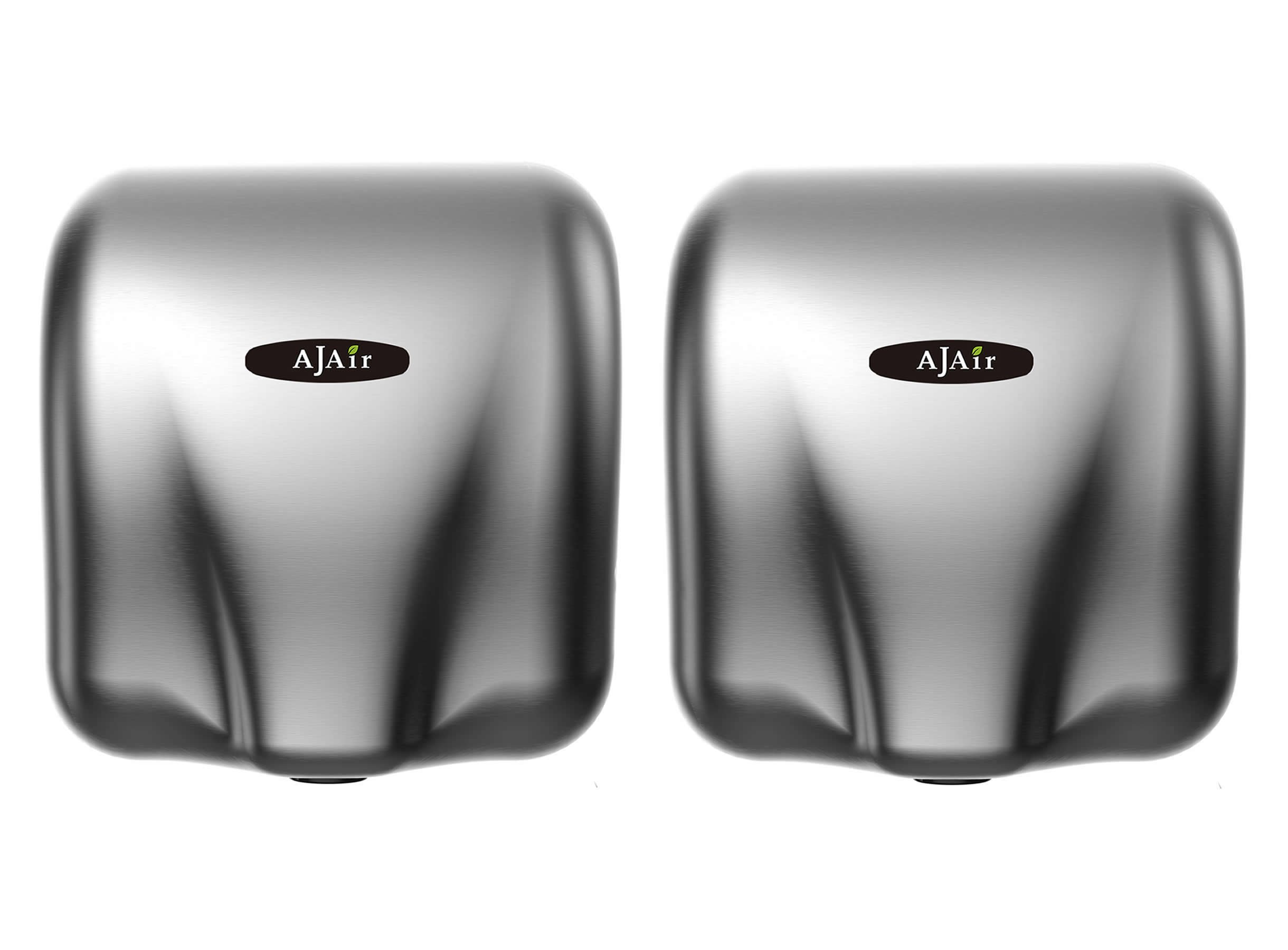 AjAir® (2 Pack) Heavy Duty Commercial 1800 Watts High Speed Automatic Hot Hand Dryer - Stainless Steel