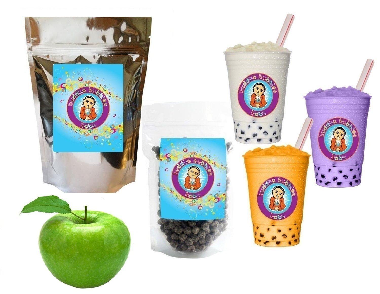 10+ Drinks Green Apple Boba Tea Kit: Tea Powder, Tapioca Pearls & Straws By Buddha Bubbles Boba by Buddha Bubbles Boba