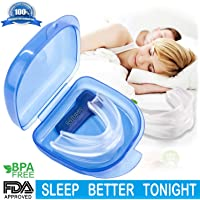 Mouth Guard, Gum Shield for Grinding Teeth & Snoring, 2-in-1 Anti Snoring Devices with Retainer Case,Snore Stopper for Better Sleep & Sports