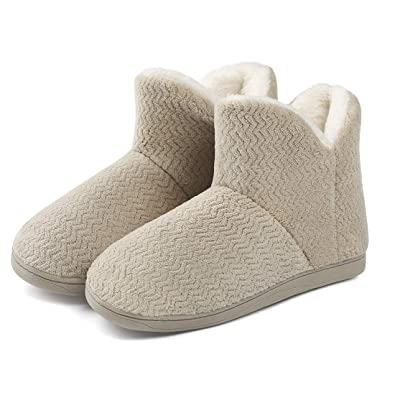 f20620eb6042e Cellicigal Women Comfort Warm Plush Bootie Slippers Cozy Wool Indoor  Outdoor Home Shoes
