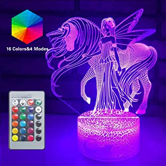 A2 Ray-Velocity 3D Einhorn Illusion Lampe Nachtlicht optische T/äuschung Lampe Schreibtischlampe Tischlampe 7 Farben f/ür Schlafzimmer Kinder Weihnachts Valentine Geburtstag geschenk