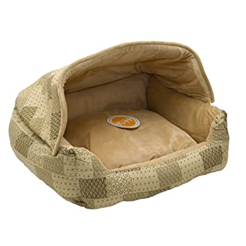 Amazon Com K H Pet Products Hooded Lounge Sleeper Pet Bed Tan