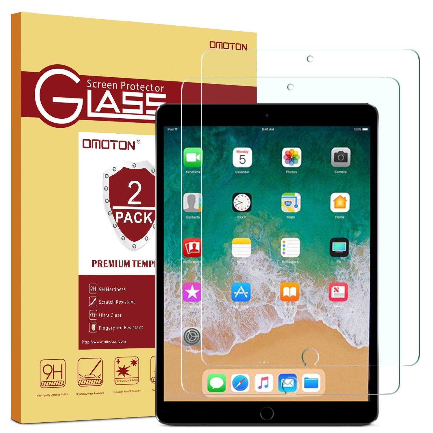 [2 Pack] OMOTON iPad Pro 10.5 Screen Protector, Tempered Glass Screen Protector with [9H Hardness] [Crystal Clear] [Anti-Scratch] [Bubble-Free Installation] for iPad Pro 10.5 inch