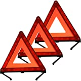 KAFEEK Reflective Warning Triangle Emergency Warning Triangle Roadside Safety Triangle Kits (Set of 3)