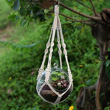 WITUSE Algodón Planta Percha Percha de Algodón Puro, Hecho a Mano Craft Retro de Punto Ropes-s (con aro): Amazon.es: Hogar