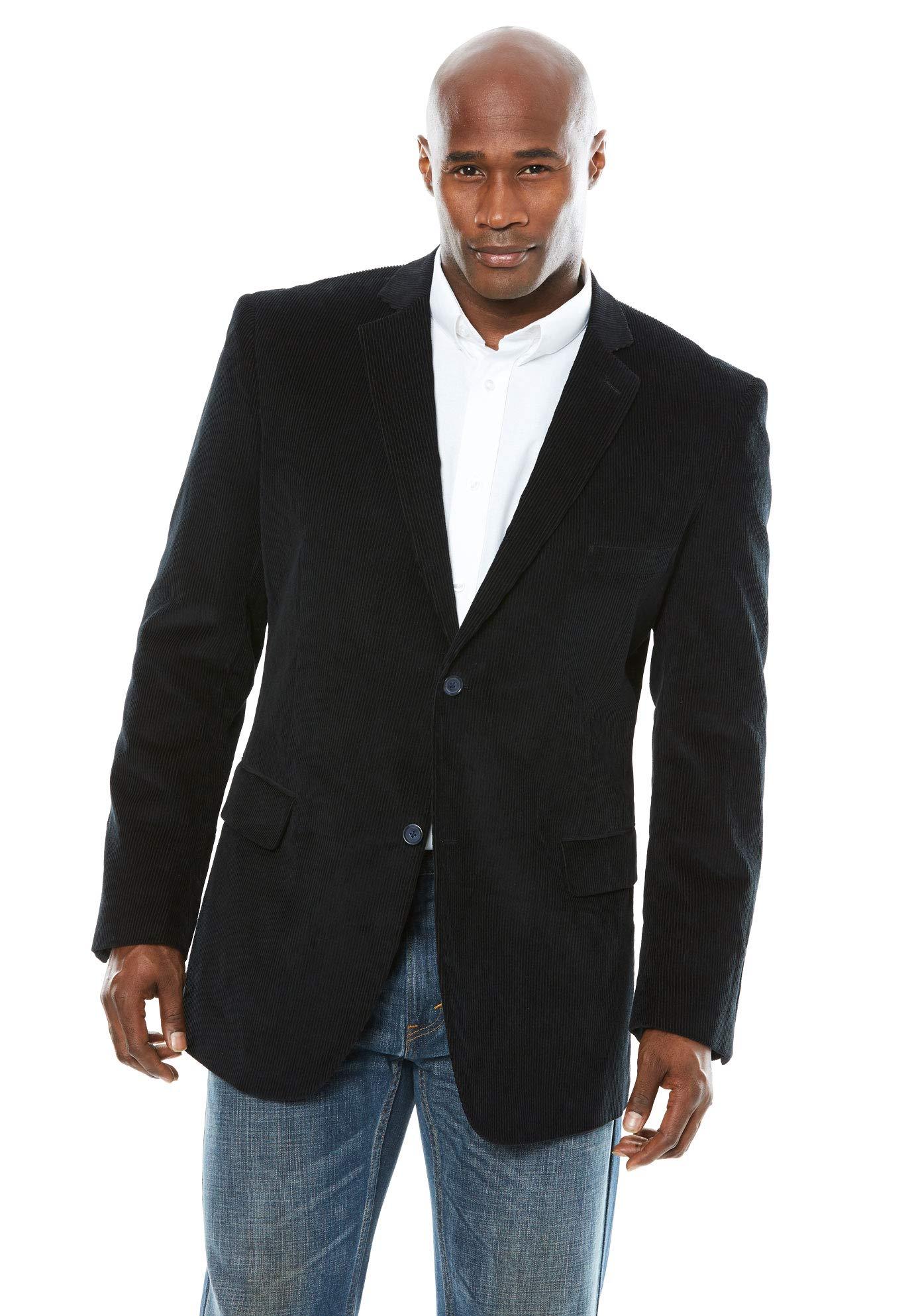 KS Signature Men's Big & Tall Corduroy Blazer, Black Big-66