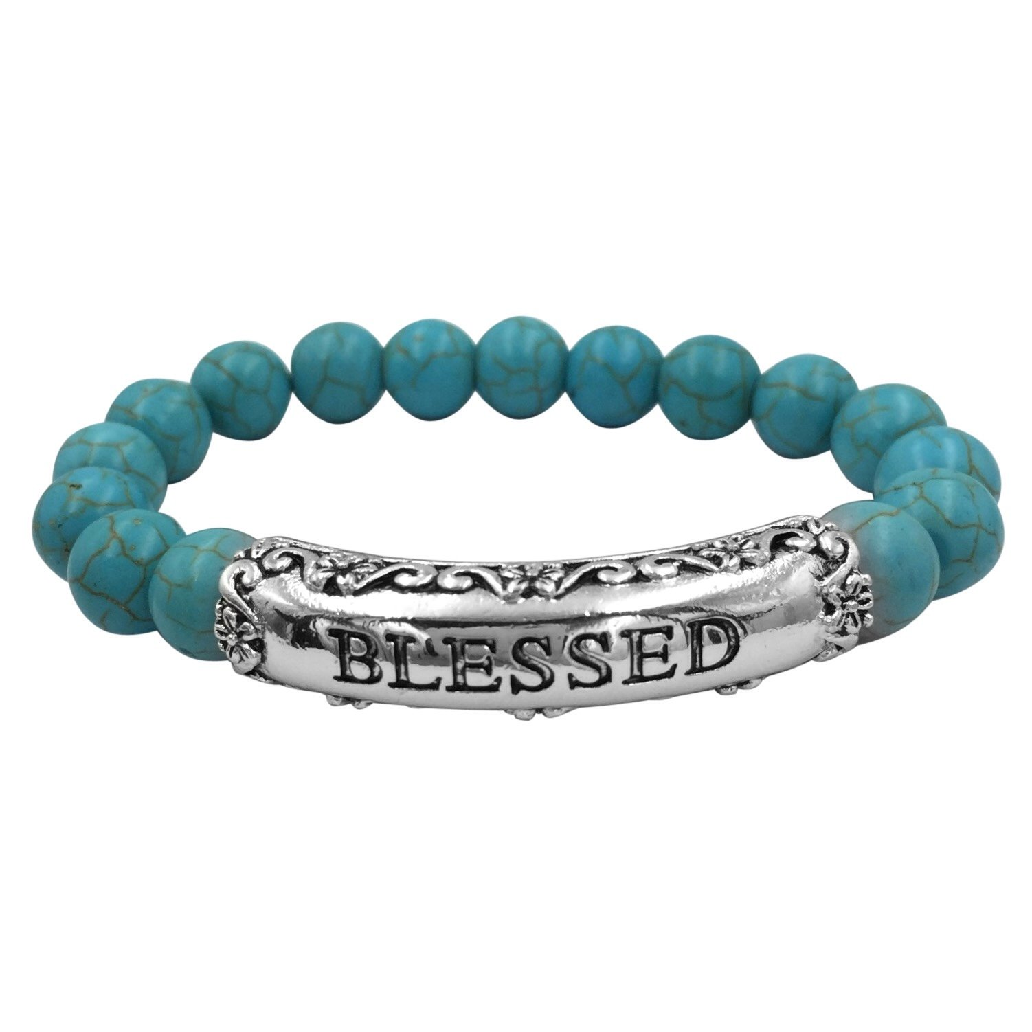 Inspirational Worded Single Strand Beaded Silver Tone Stretch Bracelet (Imitation Turquoise Blessed)
