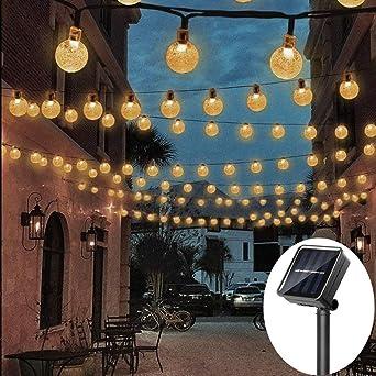 Guirnalda de luces solares para exteriores, resistente al agua, IP65, luces LED para jardín, 8 modos, 50 LEDs: Amazon.es: Iluminación