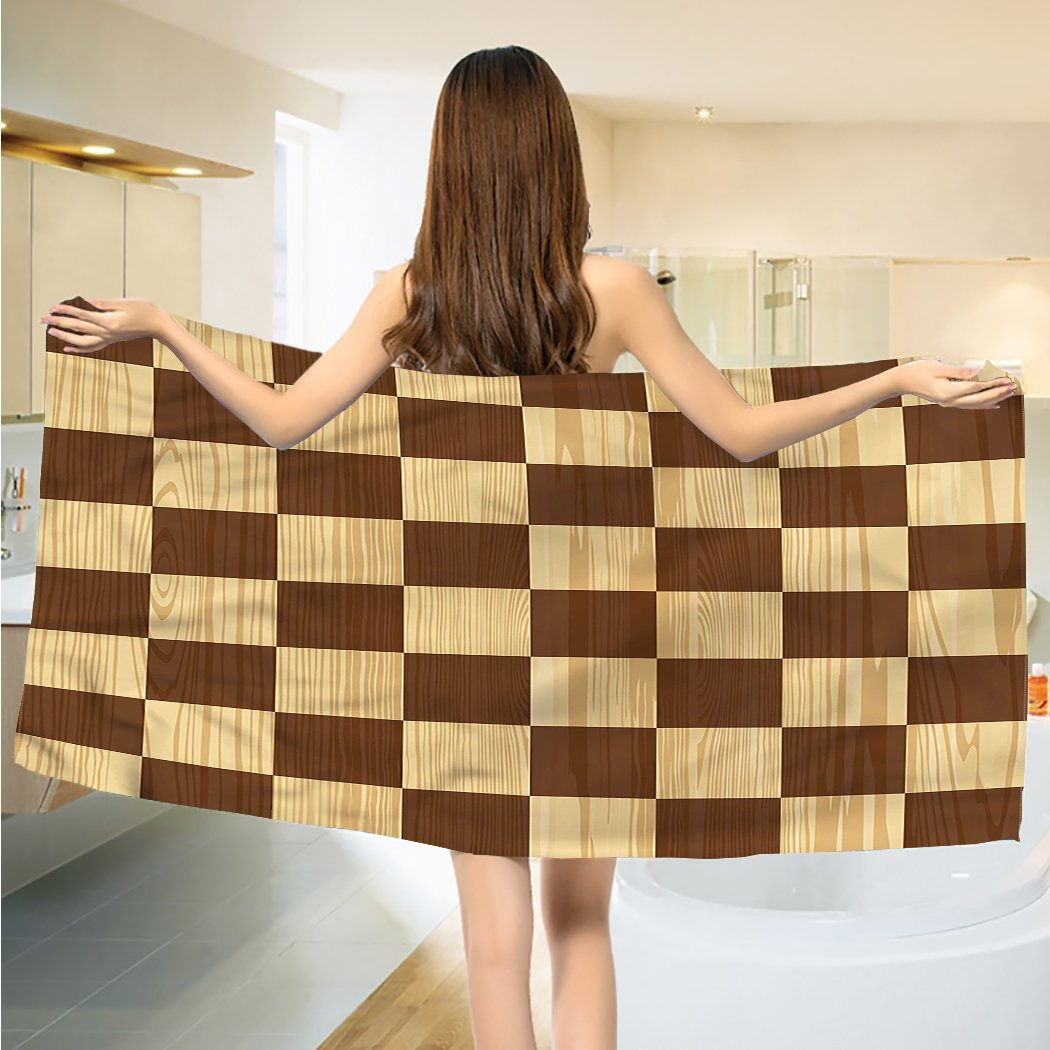 Checkered Bath Towels Empty Checkerboard Wooden Seem Mosaic Texture Image Chess Game Hobby Theme extra large Towels Brown Pale Brown