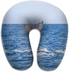 Emvency U-Shaped Travel Neck Support Pillow Young Humpback Whale Megaptera Novaeangliae Airplane 12x11.5 Inch Soft U-Pillows with Rebound Material for Kids Adults