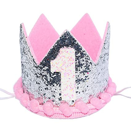 Image Unavailable Not Available For Color Maticr Sparkled Princess First Birthday Tiara Crown Headband Party Supplies