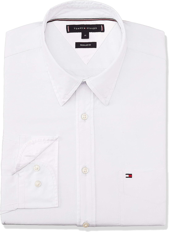 Tommy Hilfiger de los Hombres Camisa Esencial de Popelina, Blanco, S: Amazon.es: Ropa y accesorios