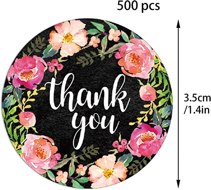 Milifeel 500pcs//roll Round Label Sticker Party Gift Package Accessories,Self Adhesive Paper Label,Flower Sealing Craft Roll Thank You Stickers