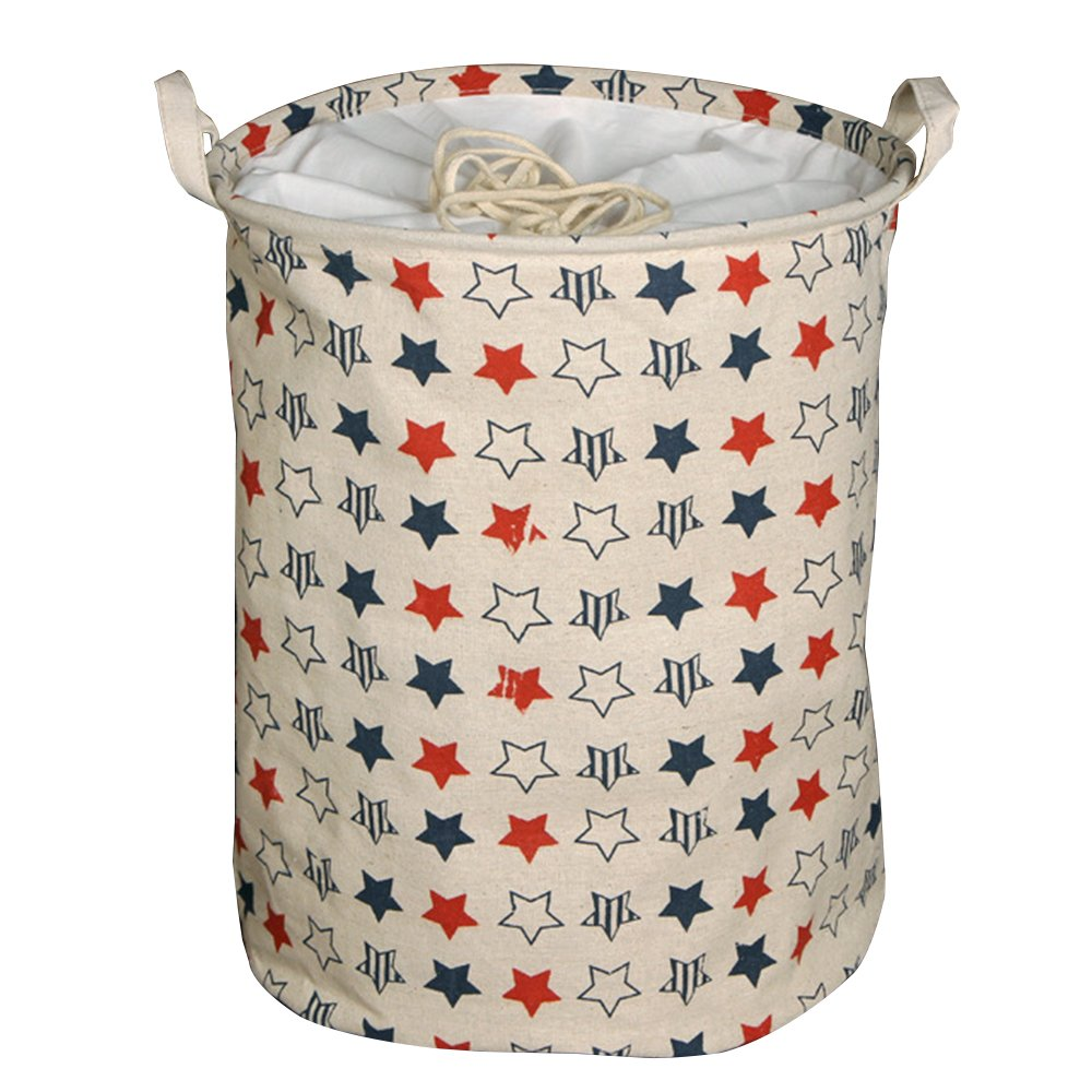 Clothes and toys organizer Waterproof hamper Foldable laundry basket for storage(Pentastar,13.8x13.8x17.7In)