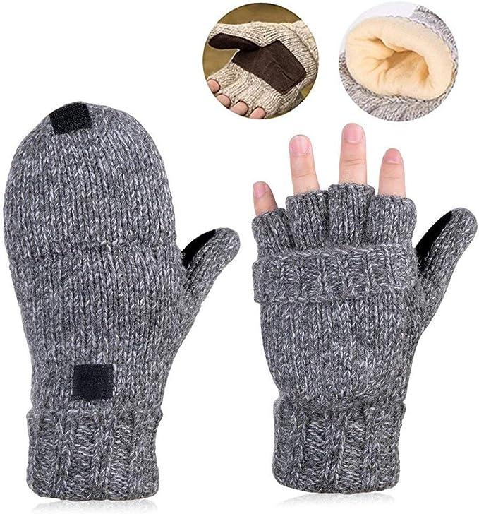 Gestrickte fingerlose Halbfinger-Wollhandschuhe mit warmen Handschuhen