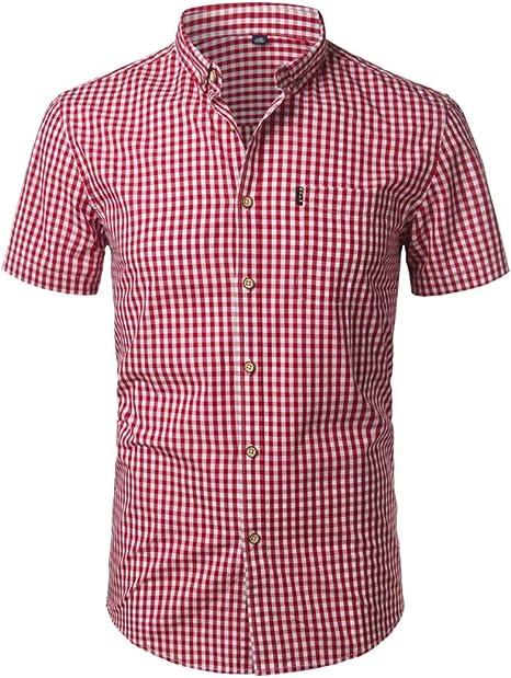 CHENS Camisa/Casual/Unisex/M Camisa a Cuadros pequeños, Hombres, Verano, Manga Corta, algodón, para Hombre, Camisas de Vestir, Camisas Delgadas Casuales, de Gran tamaño.: Amazon.es: Deportes y aire libre