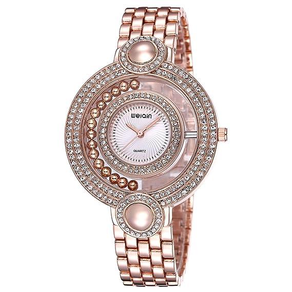 4648e38ae621 Astarsport - Reloj de Pulsera analógico de Cuarzo con Esfera Redonda de  Diamantes de imitación para Mujer