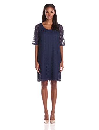 Tiana B Women's Lace Shift Dress with Elbow Sleeves, Navy, 10