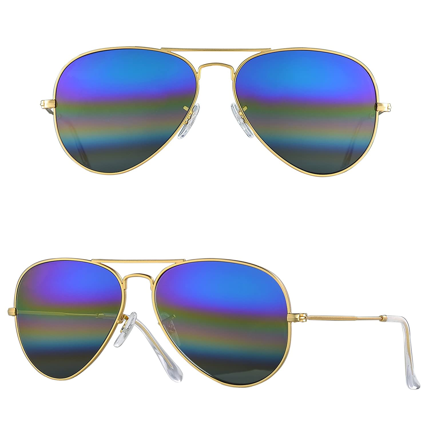 78fce96444 Amazon.com  BNUS Corning natural glass New Pilot Sunglasses Italy made with  Polarized Choices (Frame  Matte Gold Lens  Blue rainbow
