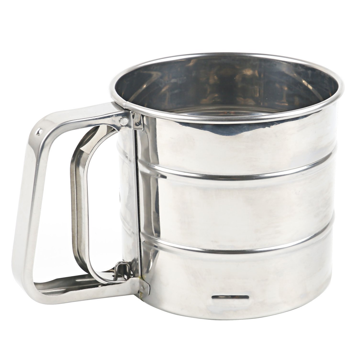 Stainless Steel Flour Sifter for Baking,Flour Sifter with Crank Dishwasher Safe (Small) Baking House BH233