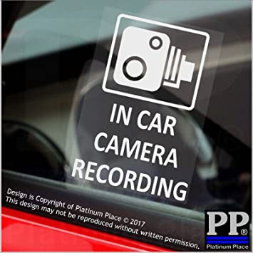 4 x 60x87mm in car camera recording window stickers cctv sign vanlorry