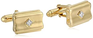 Men's 18K Yellow Gold-Plated Sterling Silver Diamond Accent Concave Cufflinks