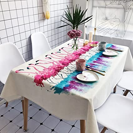 RUOYOU Linen Tablecloths,Anti Hot Table Cover Waterproof Dinner Table Table  Cloth Flax Table