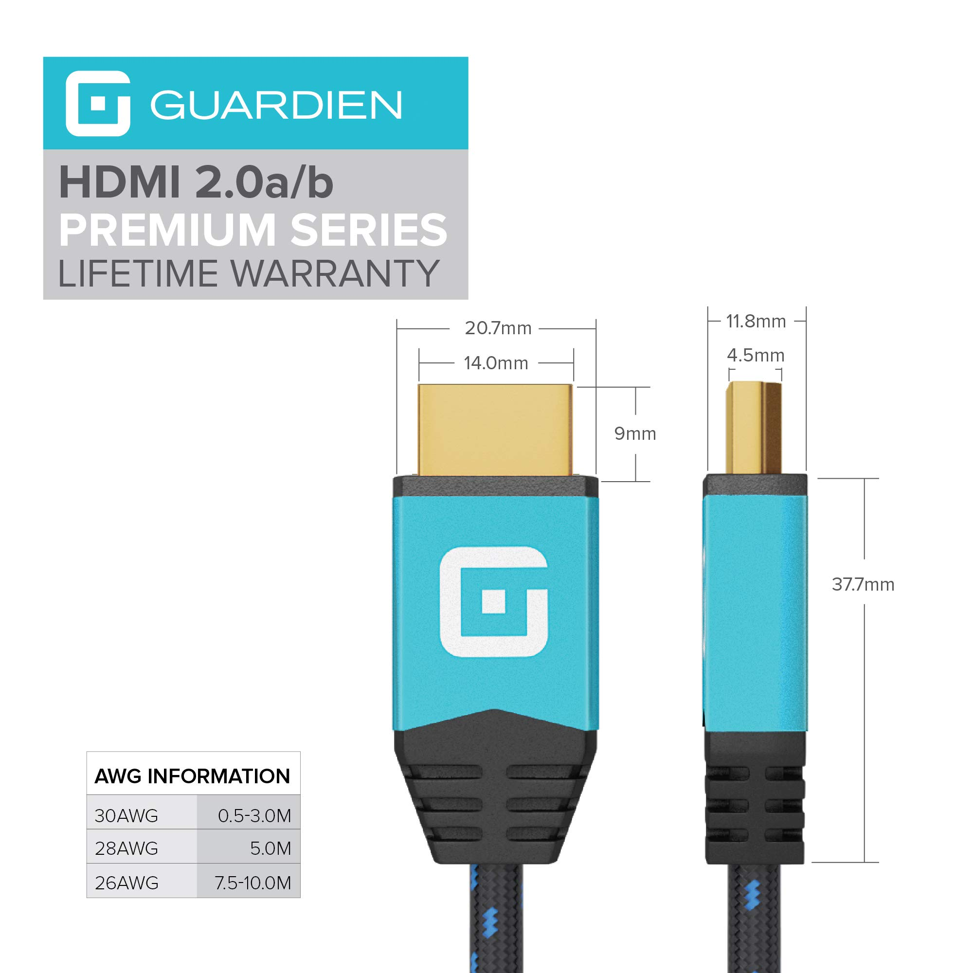 Guardian 0,6m HDMI Kabel / kompatibel mit HDMI 2.0a/b, 2.0, 1.4a (Ultra HD, 4K, 3D, Full HD, 1080p, HDR, ARC, Highspeed mit Ethernet)