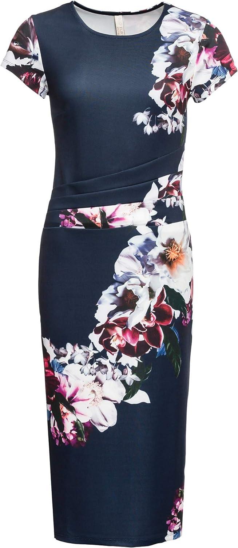 bonprix Anliegendes Blumen-Kleid mit kurzen Ärmeln für Damen