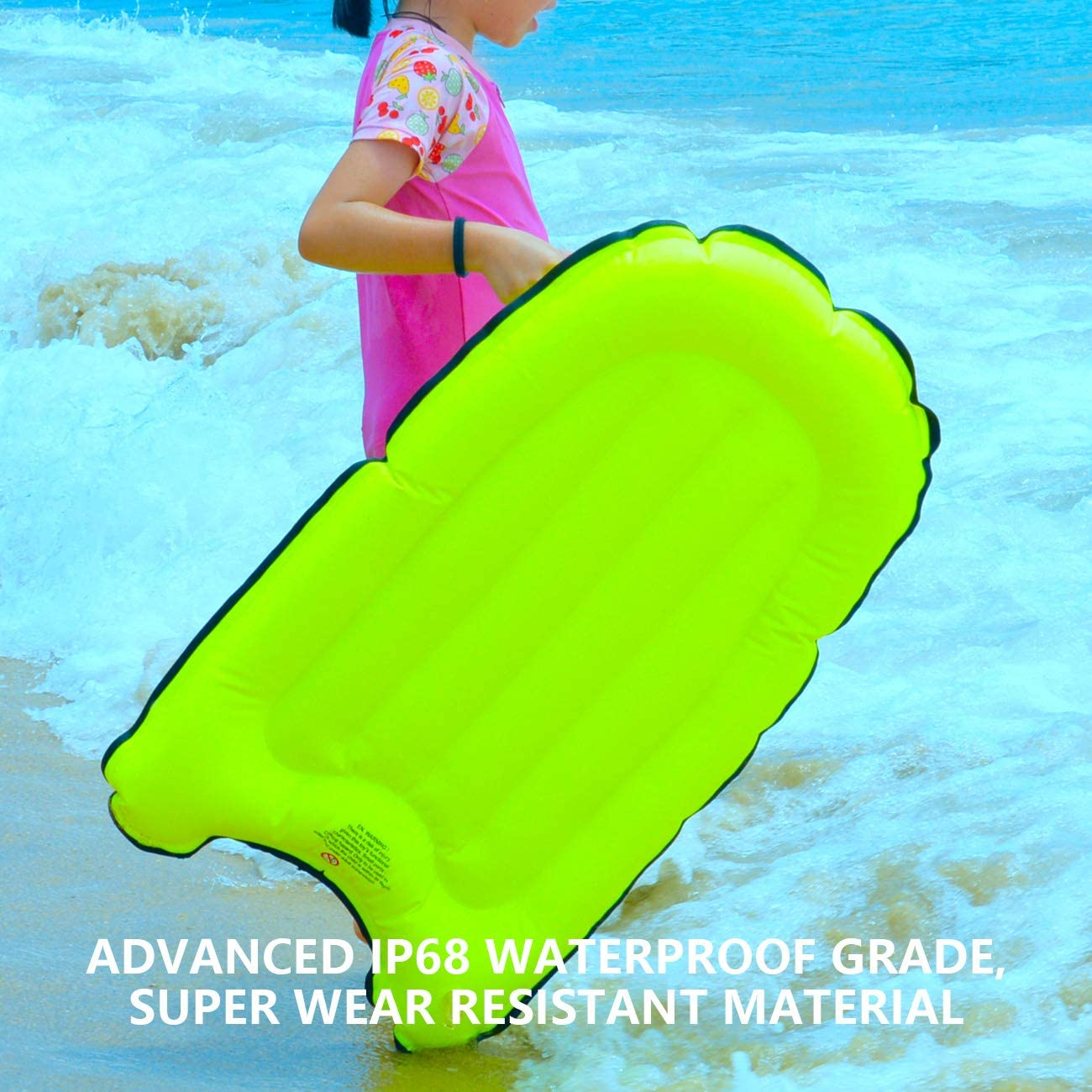 OMOUBOI Outdoor Portable Inflatable Surfboard,Pool Float Mat with Handles Foldable Waterproof Surfing Air Cushion Swimming Wading Buoyancy Bed for Beginners Swimming