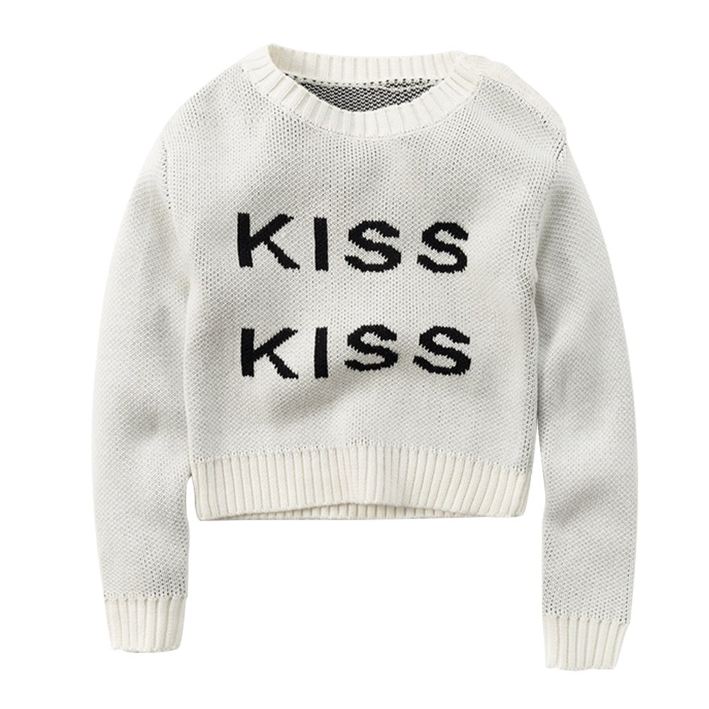 Kiss letter pure cotton knit children's sweater
