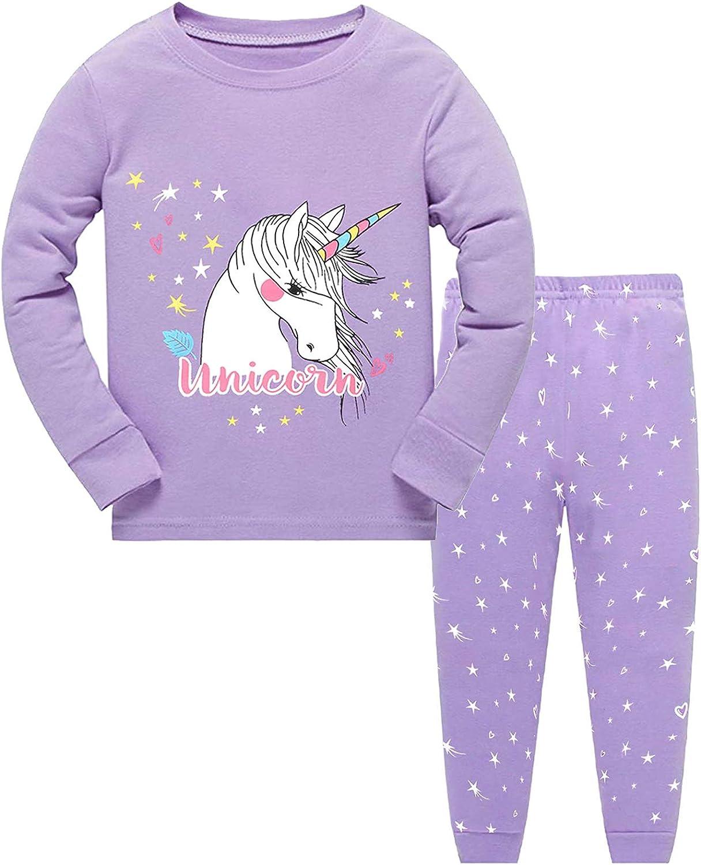Little Hand M/ädchen Schlafanzug Lang Kinder Zweiteiliger Baumwolle Einhorn Katze Nachtw/äsche T-Shirt und Hose